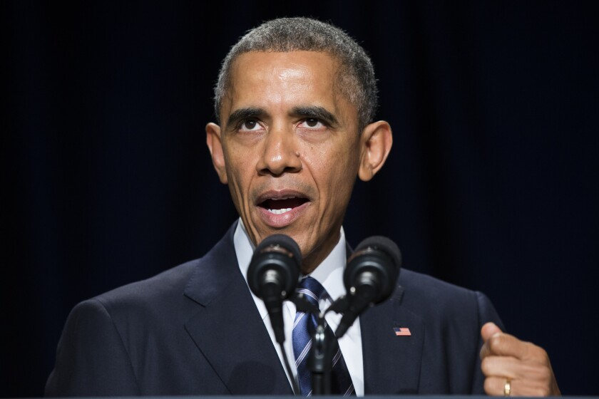 President Obama, seen here speaking at Thursday's National Prayer Breakfast in Washington, has experienced sharply polarized poll ratings through most of his presidency.