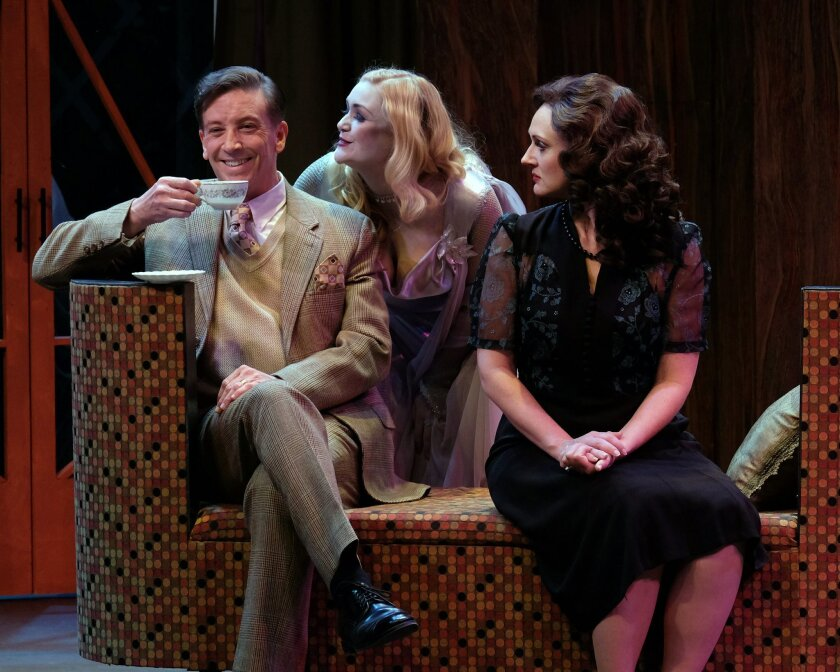 """Paul Morgavo, Jacque Wilke and Stacy Huntington in Moonlight Stage Productions' """"Blithe Spirit"""" at the Avo Playhouse in Vista."""
