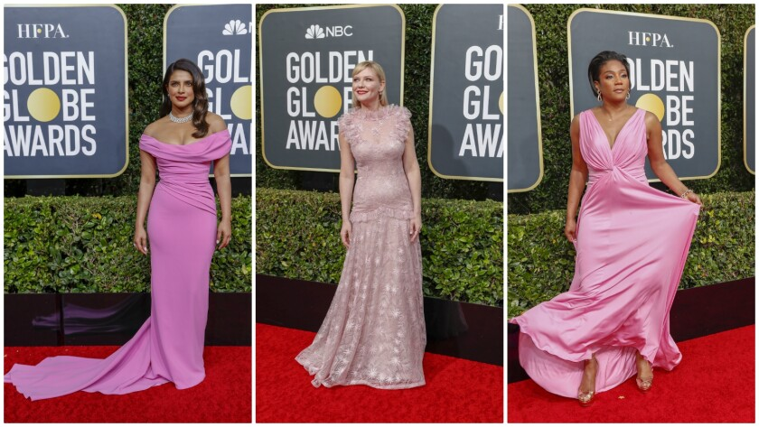 Pretty in Pink and on-trend at the 20200 Golden Globes