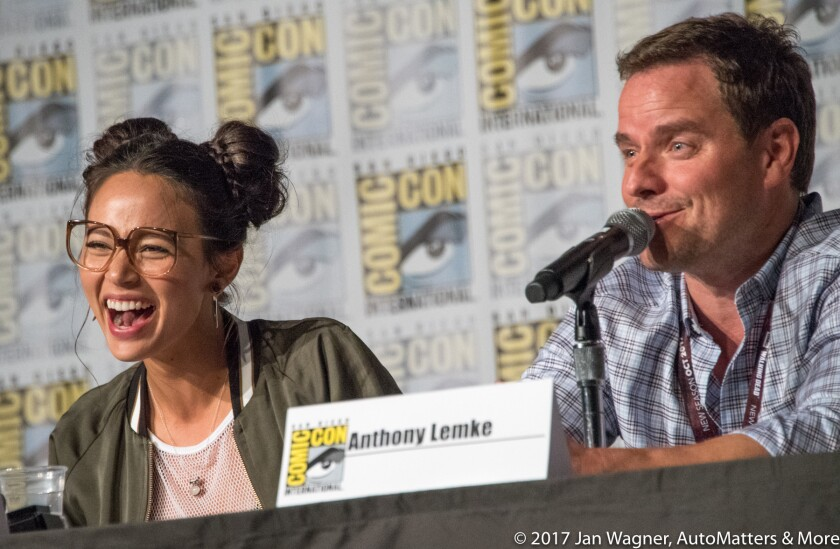 """PHOTO CAPTION 2: Melissa O'Neil & Anthony Lemke on the """"Dark Matter"""" panel"""