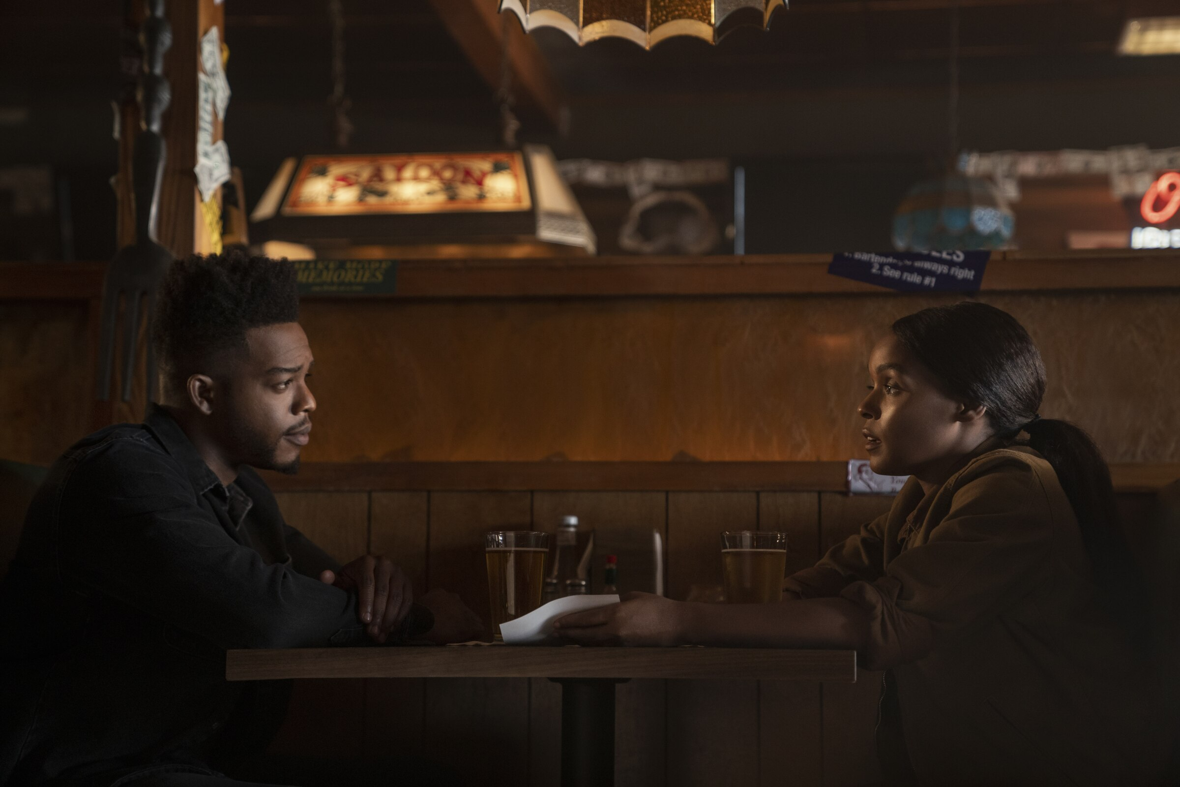 """Stephan James and Janelle Monáe in a scene from """"Homecoming."""""""