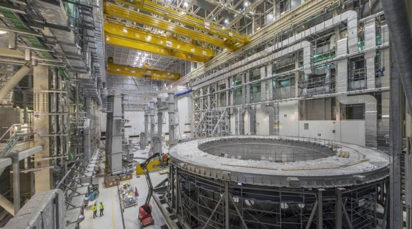 Construction at the ITER nuclear fusion project in southern France in May 2020.