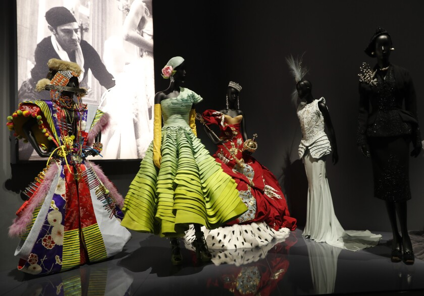 A selection of Christian Dior dresses designed by John Galliano, on display during a press preview o