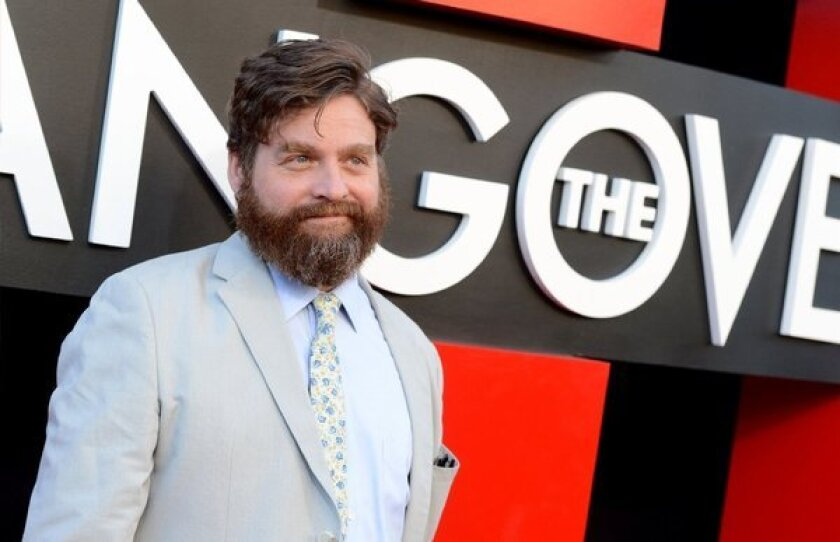 """Zach Galifianakis arrives at the premiere of """"The Hangover Part III"""" in Westwood."""