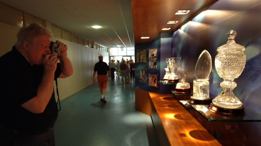 Waterford Crystal Factory Tour in Waterford Ireland: tourist photographs some of the trophies Waterf