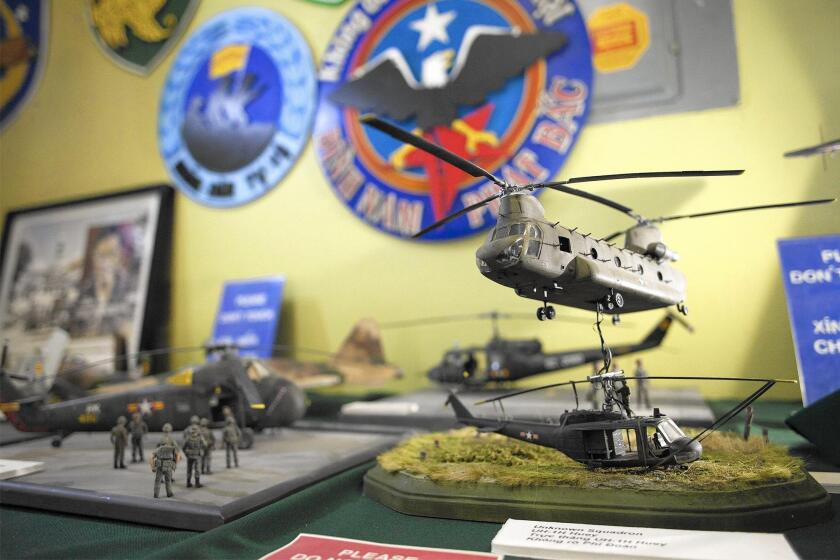 Models depict South Vietnamese helicopter squadrons at the Museum of History of the Republic of Vietnam Armed Forces in Westminster.