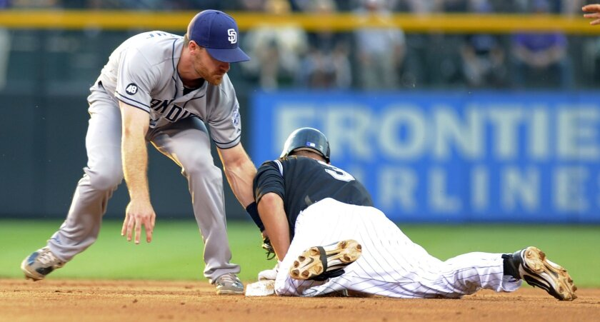 Padres second baseman Logan Forsythe is late with the tag on Michael Cuddyer, who doubled in the sixth inning.