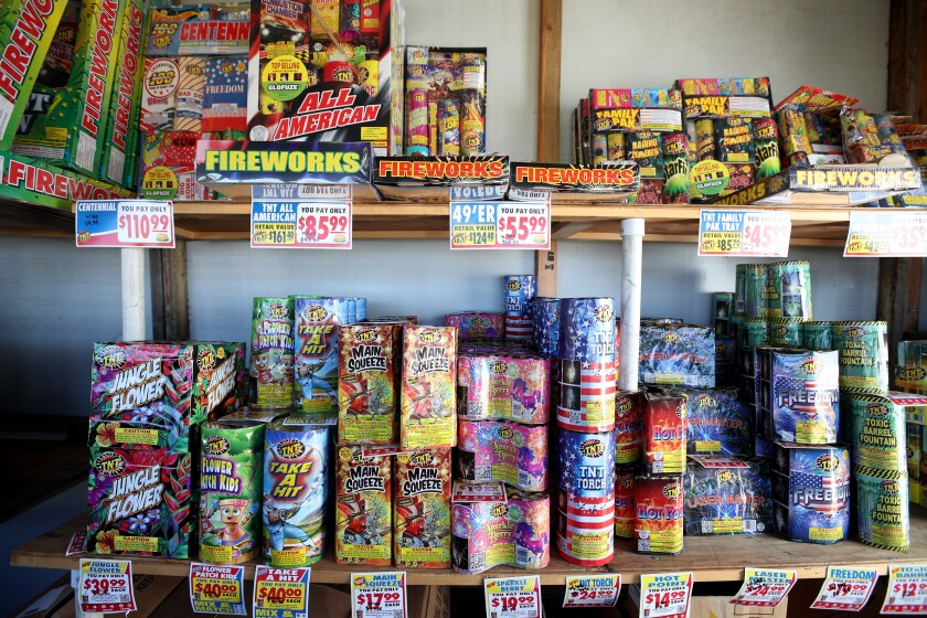 Fireworks on display at the TNT Fireworks stand.