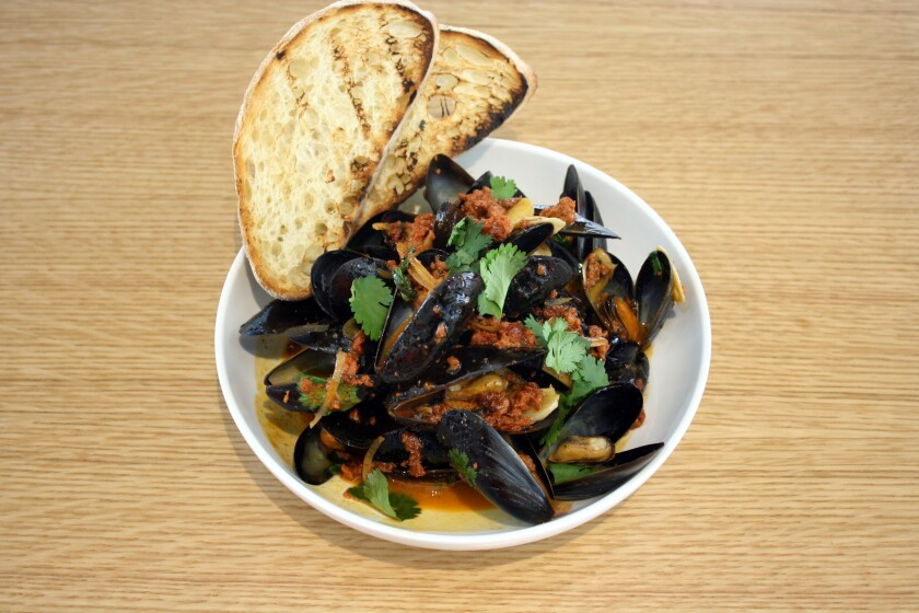 The mussels with chorizo on the menu at the soon-to-open Cafe Rockenwagner in Brentwood's BW mixed-use development.