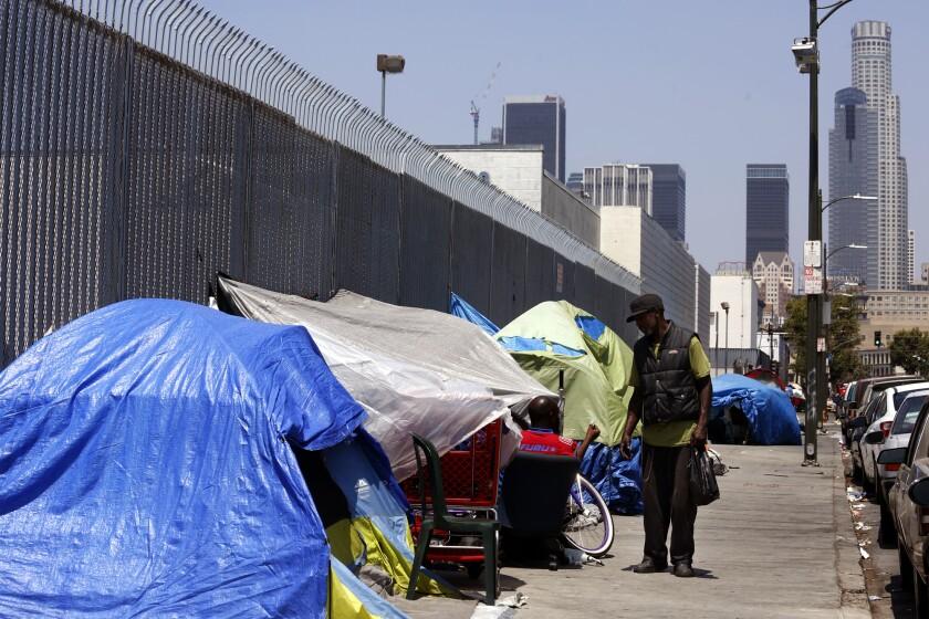 Homeless encampment along 5th Street in Los Angeles
