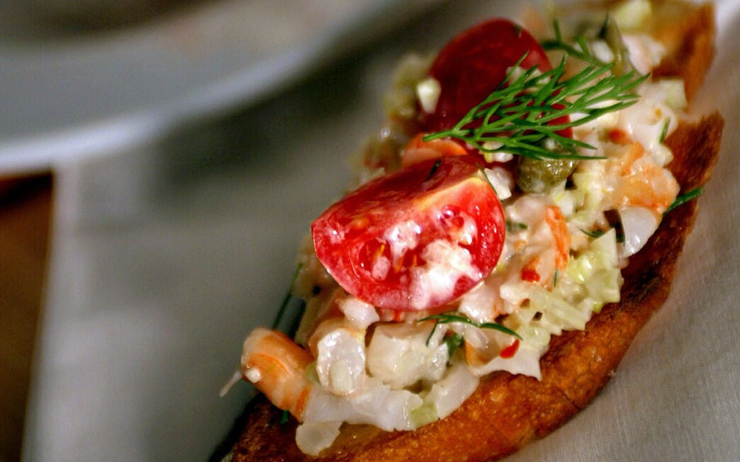 Capri shrimp salad bruschetta