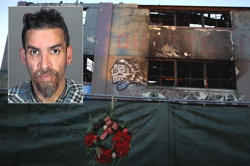A deadly fire gutted an Oakland artists loft called the Ghost Ship in 2016. Derick Almena (inset) was the manager.
