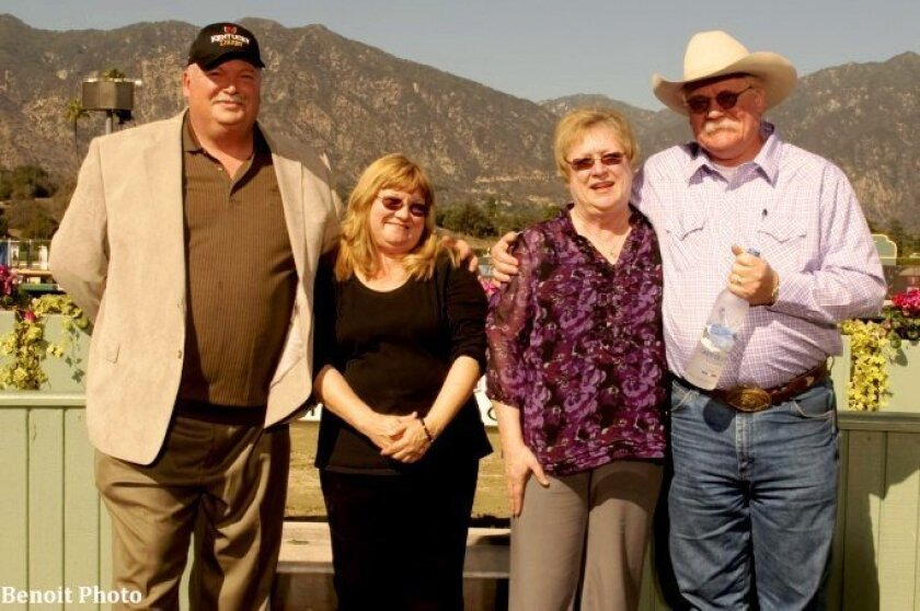 California Chrome owners (from left) Perry and Denise Martin and Carolyn and Steve Coburn are Derby-bound with their first foal ever as owner-breeders.