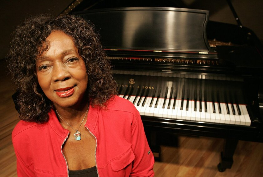 "Veteran blues-jazz singer and pianist Jeannie Cheatham, will give a free talk Thursday with saxophonist John Handy at Grossmont College. She is the former co-leader (with here late husband, trombonist Jimmy) of San Diego's award-winning Sweet Baby Blues Band. Her autobiography, ""Meet Me With Your Black Drawers On,"" was published in 2006. Mandatory Credit: Photo by EARNIE GRAFTON/San Diego Union-Tribune/Zuma Press. Copyright 2006 San Diego Union Tribune)"
