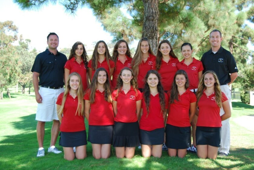 Members of La Jolla High School's girls golf team. Front: Hanna Wells, Kaiulani Frejar, Madeleine Garay, Alina Staner, Stephanie Thrift and Gabi Anastasi. Top: Coach Don Hildre, Talia Chalhoub, Kayla Goldsmid, Daniela Anastasi, Maya Friessen-Smith, Rebecca Ryan, Waverly Whiston and Head Coach Aaron Quesnell.