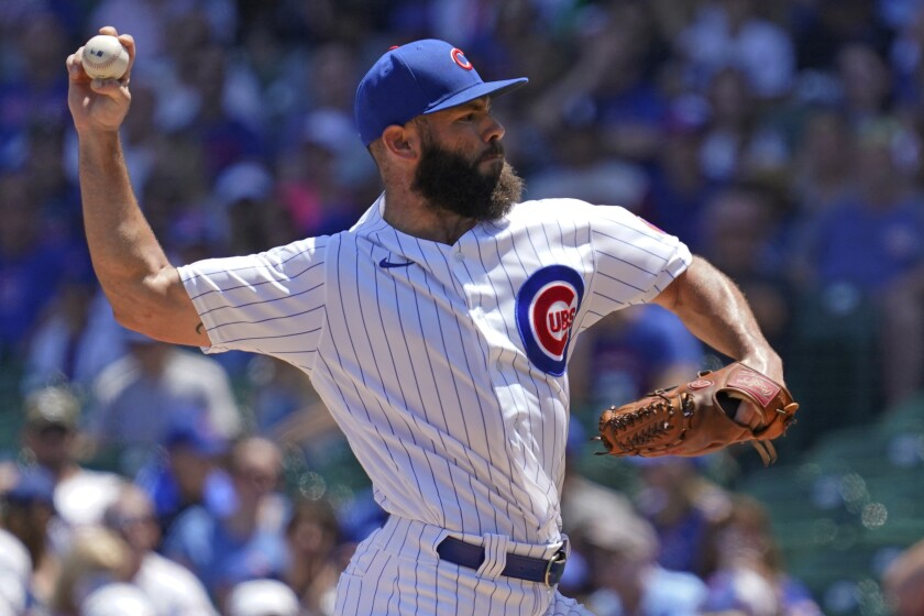 Chicago Cubs starting pitcher Jake Arrieta throws against the Miami Marlins during the first inning of a baseball game in Chicago, Saturday, June 19, 2021. (AP Photo/Nam Y. Huh)