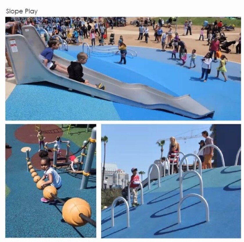 Example of sloped playground features that will be included in the park.