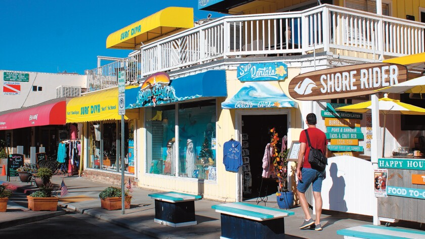 Businesses in La Jolla Shores range from restaurants to recreation rentals, with galleries and apparel shops in between.