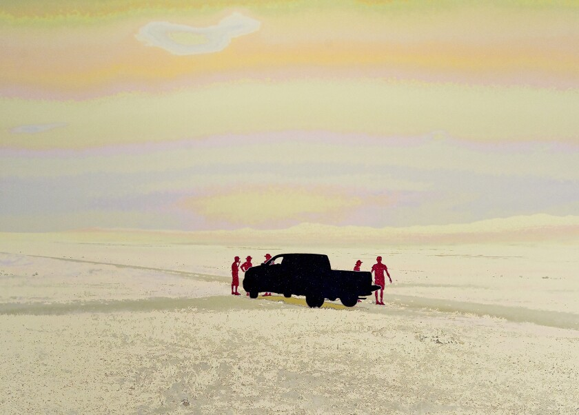 """""""A Group of Artists Stopped at the Intersection of Two Dirt Roads,"""" North of Lucin, UT, July, 2014 (pale rainbow with black and red glitter crusts)"""
