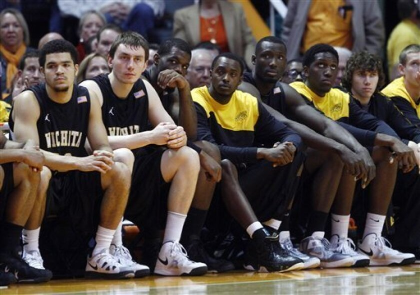 The Wichita State player's look on in the final seconds in the second half of an NCAA college basketball game against Tennessee on Thursday, Dec. 13, 2012, in Knoxville, Tenn. Tennessee won 69-60. (AP Photo/Wade Payne)