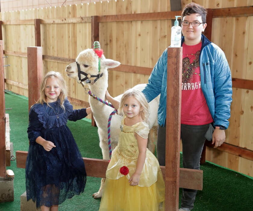 Celeste and Nicole Sample visit with Kronk the Alpaca and Emma Clarke