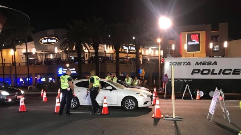 Sobriety checkpoint nets 5 DUI arrests in Costa Mesa - Los