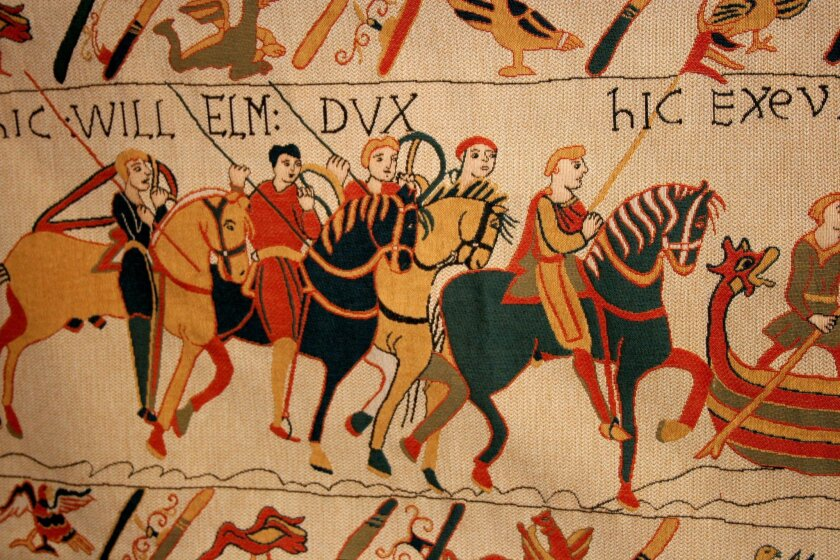 This undated image released by Atout-France shows a close up of the Bayeux Tapestry in Bayeau, France. The nearly thousand-year-old treasure, which is actually more of an embroidered scroll, depicts the story of how William, the duke of Normandy, became king of England. Billed as the first major to