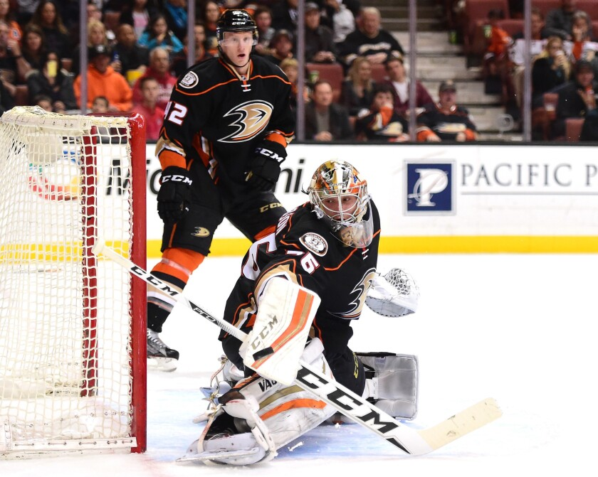 Ducks goalie John Gibson has shown poise and maturity beyond his years