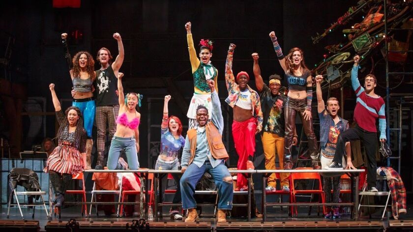 "The current touring company of ""Rent,"" the influential rock musical that just marked its 20th anniversary."