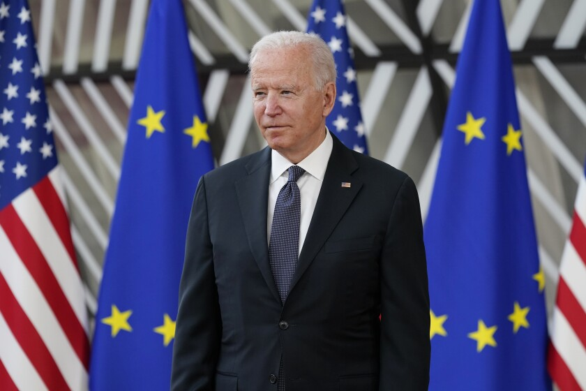 FILE - In this June 15, 2021, file photo President Joe Biden arrives for the United States-European Union Summit at the European Council in Brussels. (AP Photo/Patrick Semansky, File)