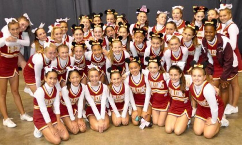 The Jr. Midget Golden Falcons and Midget Falcons Cheer Squads at the Wescon Cheer Championships.