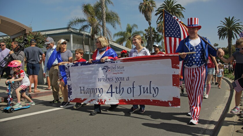 Participants at a previous Fourth of July Parade in Del Mar.