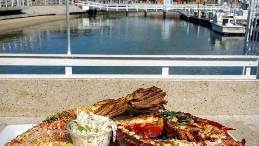 The whole grilled spiny lobster special at Mitch's comes with a free view. (Amy T. Granite)