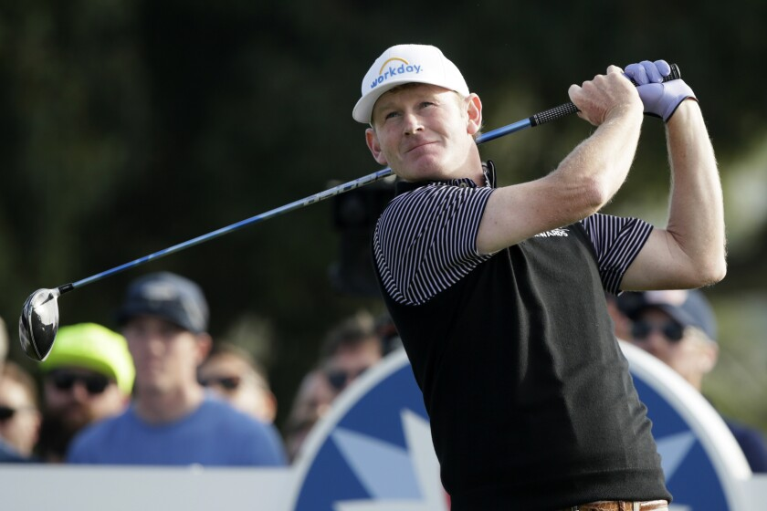 Brandt Snedeker tees off on No. 18 on the South Course at Torrey Pines on Jan. 24, 2020, at the Farmers Insurance Open.