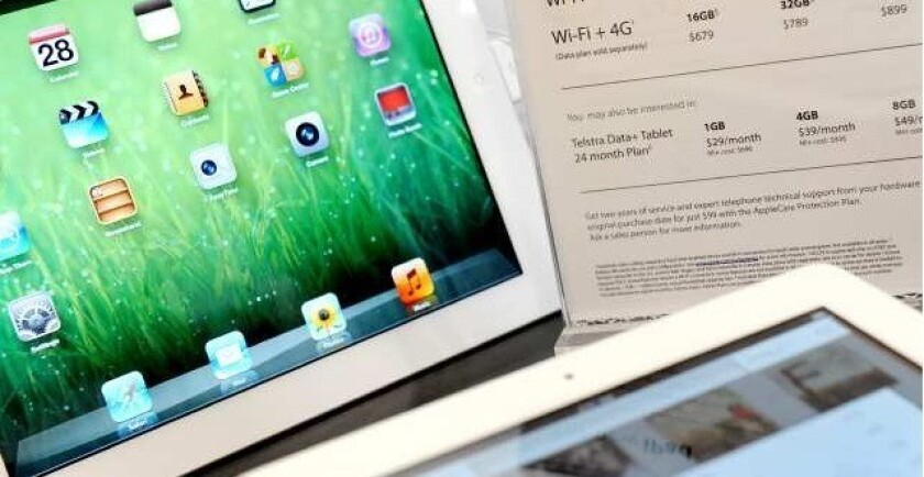 An Apple iPad on display at a store in Melbourne, Australia.