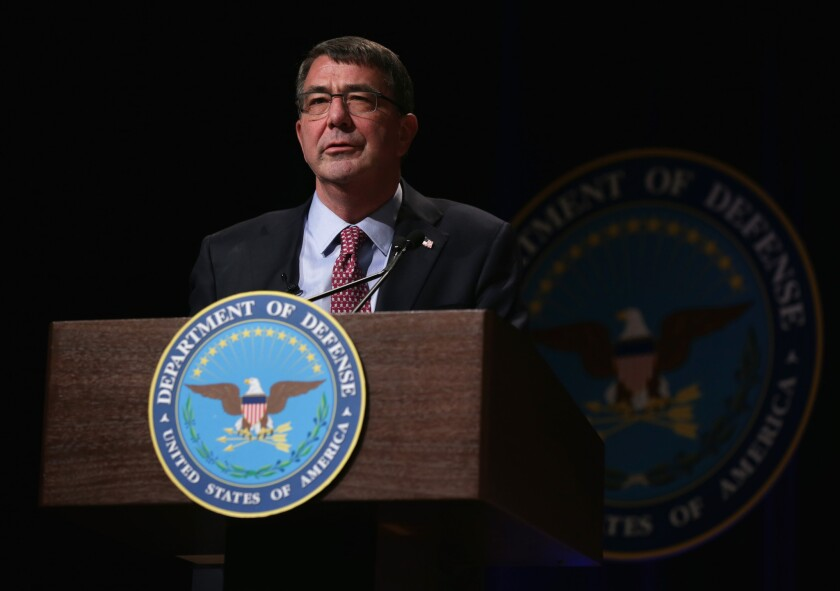U.S. Secretary of Defense Ashton Carter speaks during a ceremonial swearing in held at the Pentagon on March 6. Carter has succeeded Chuck Hagel to be the 25th Secretary of Defense of the United States.