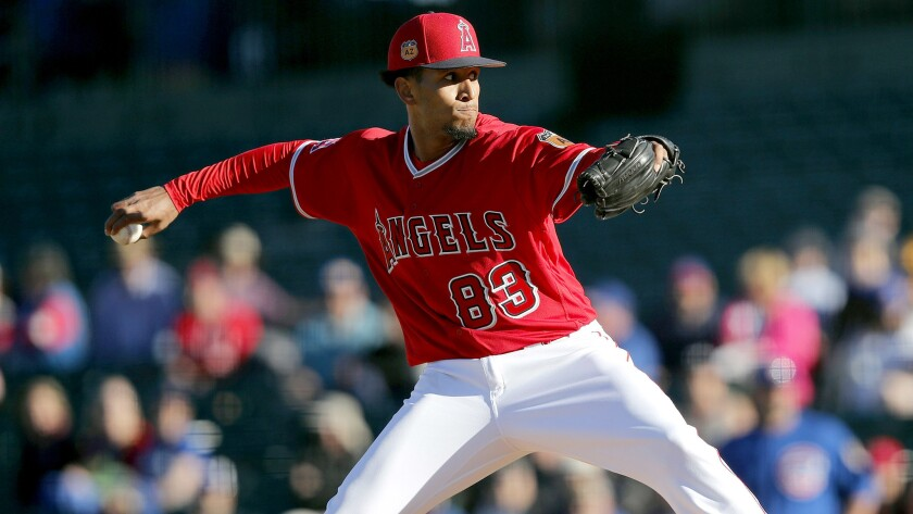 Angels pitcher Keynan Middleton delivers against the Chicago Cubs during a spring training game in March 2017.
