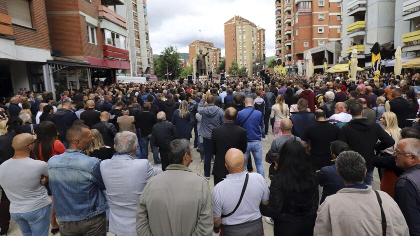 Kosovo Serbs protest against Kosovo police action in the northern Serb-dominated part of the ethnica