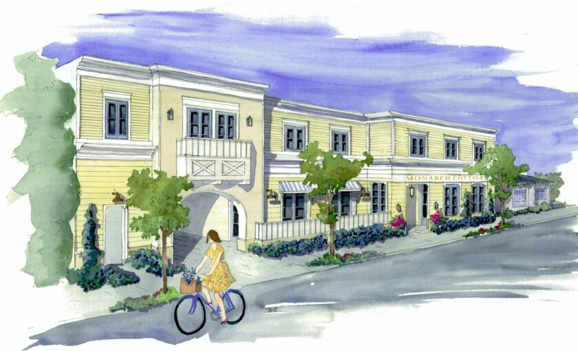 Artist rendering of the proposed 'Monarch Cottages' memory-loss care facility on Fay Avenue (adjacent La Jolla Music Society's planned performing arts center and across from a high-end cinema complex under development). Illustration by Codie Carman
