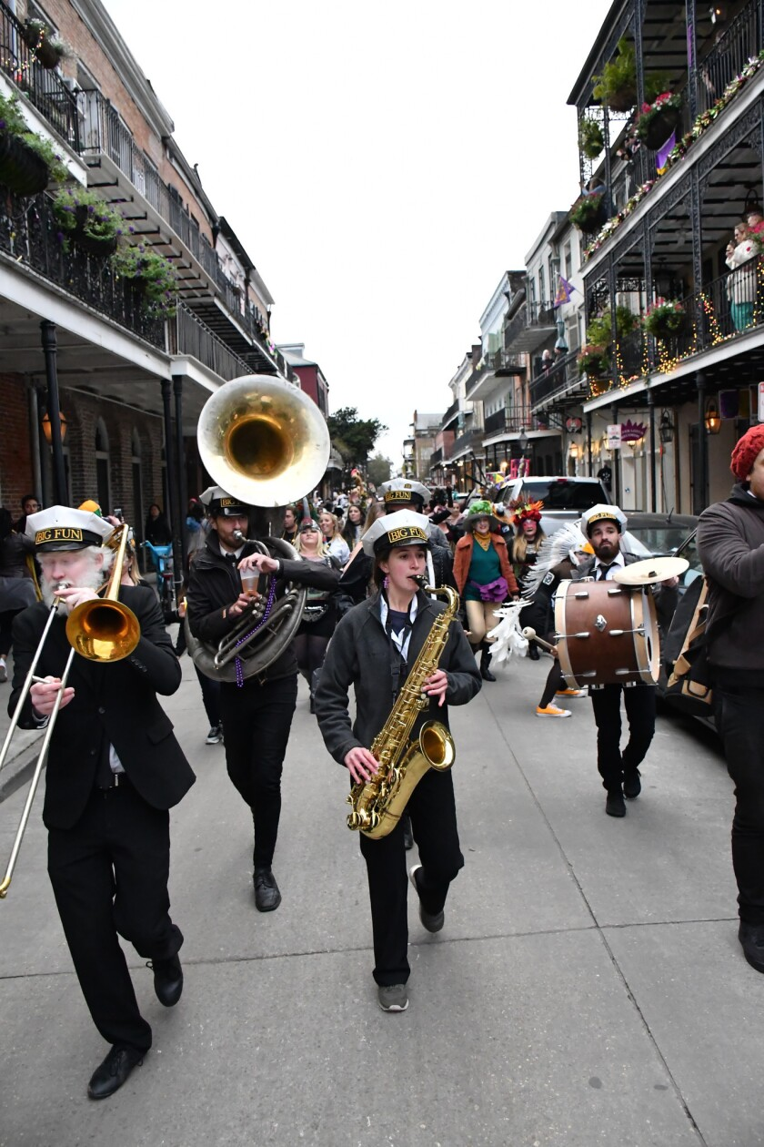 The brass band in the French Quarter in New Orleans.