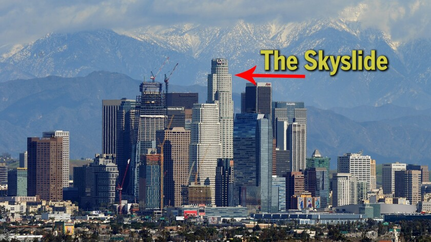 The location of the Skyslide in the L.A. skyline.