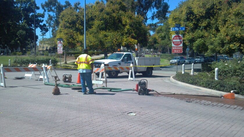The Laurel Street entrance to Balboa Park is blocked to traffic following a water main break.