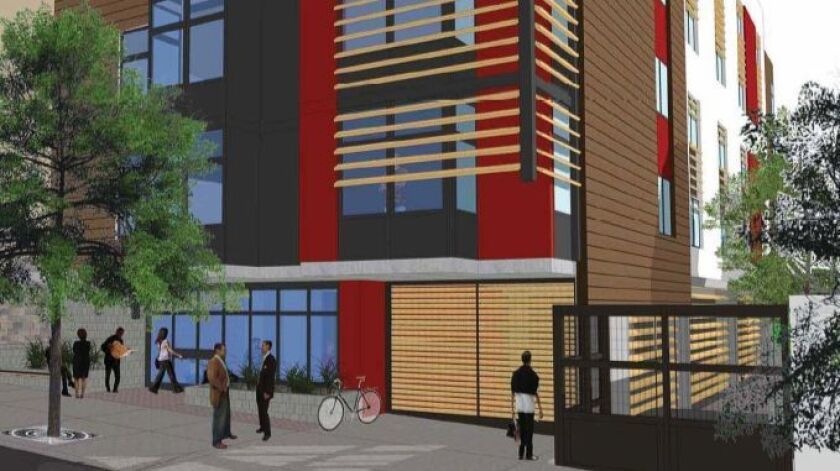 The Beacon low-income project is tucked onto a block between 14th and 15th streets.