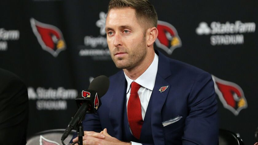 Kliff Kingsbury addresses the media during his introductory news conference on Wednesday in Phoenix.