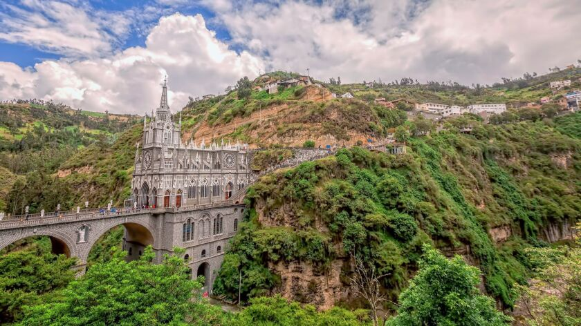 Aerial View Of Las Lajas Cathedral In Ipiales, Colombia