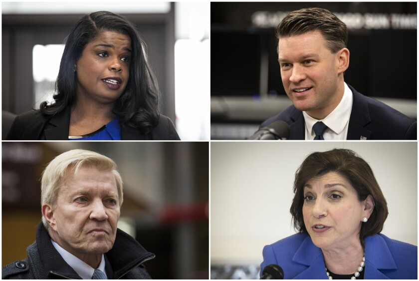 This combination of photos shows from clockwise from top left, candidates for Cook County State's Attorney Democrats Kim Foxx, Bill Conway, Donna More and Bob Fioretti. Foxx, the Chicago area's top prosecutor is trying to convince voters of her criminal justice reform record as she faces continued questions about her handling of actor Jussie Smollett's case. (Ashlee Rezin Garcia, Rich Hein/Chicago Sun-Times via AP)