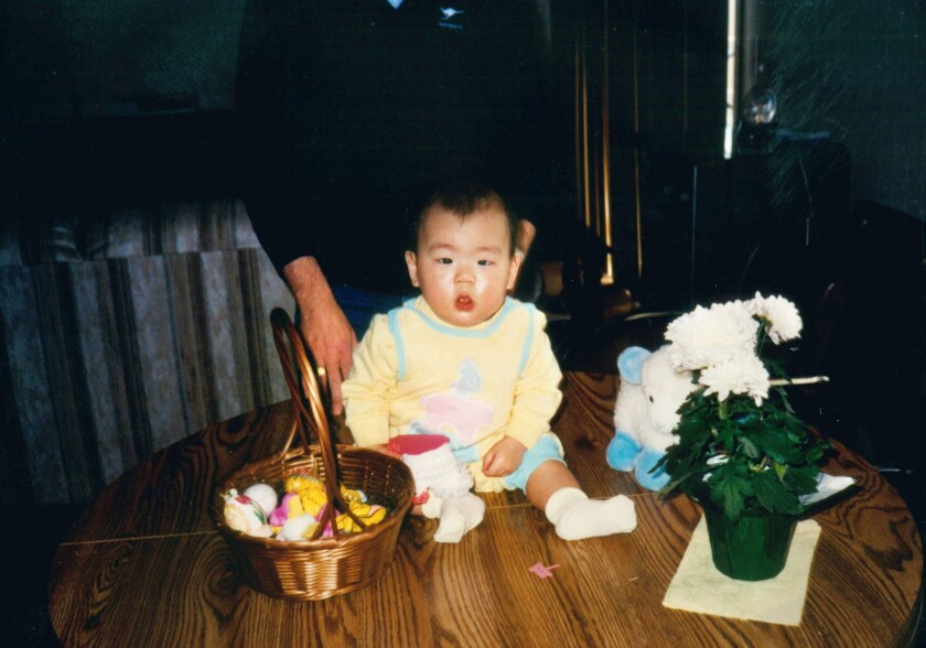 Ten-month-old Matt Stevens celebrates his first Easter inside his family's home in Naperville, Ill.