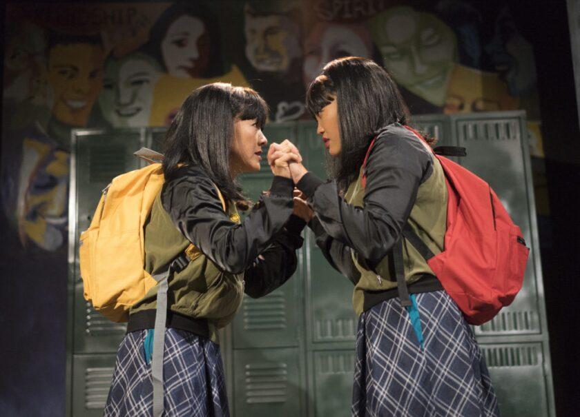 "Jyl Kaneshiro (left) and Dana Wing Lau in Moxie Theatre's ""peerless."""