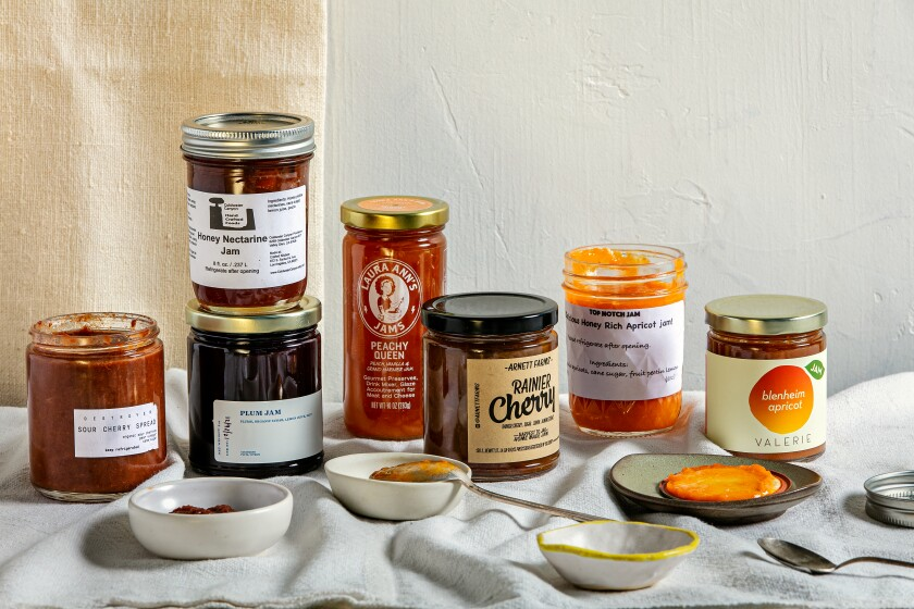 Jars of some of the best stone fruit jams in Los Angeles.