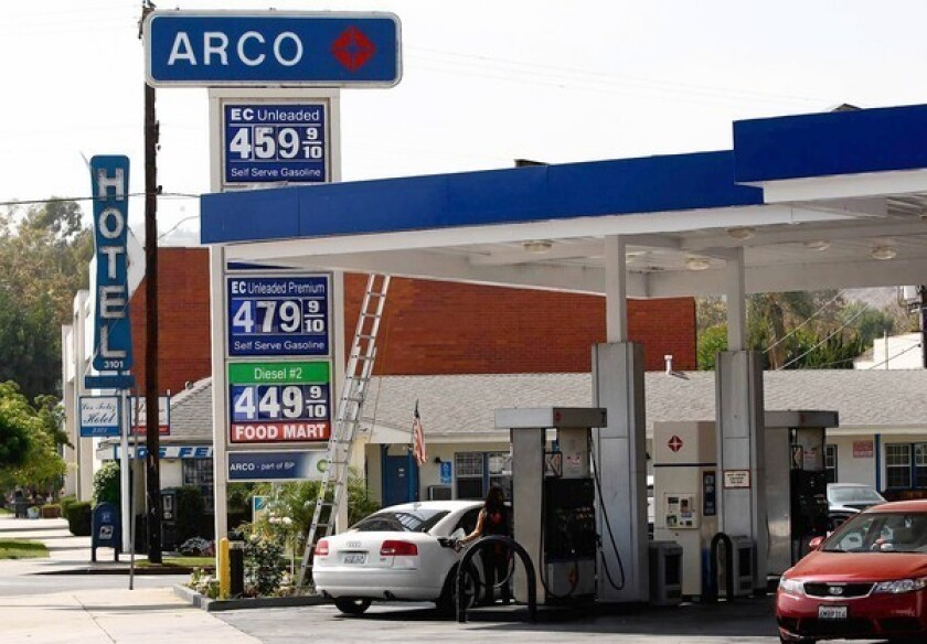 On a typical day, more than half of California's lowest-cost service stations carry the Arco name, according to GasBuddy.com. Above, an Arco station on Glendale Boulevard in Los Angeles.